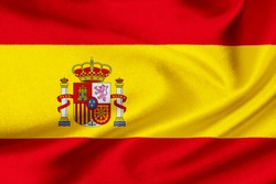Flag of Spain on satin texture