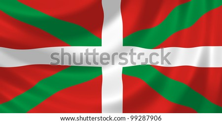 Flag of Spanish Basque Country Autonomous community waving in the wind detail