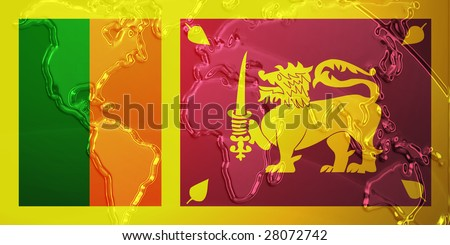 Flag of sri lanka national country symbol illustration with world flag of sri lanka national country symbol illustration with world map metallic embossed look gumiabroncs Gallery