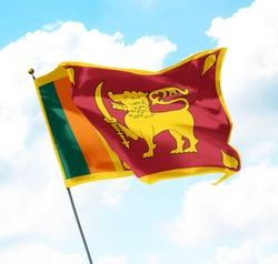 Flag of Sri Lanka Raised Up in The Sky