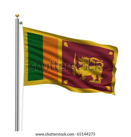 Flag of Sri Lanka with flag pole waving in the wind over white background