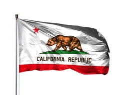 flag of State of California on a flagpole, isolated on white background