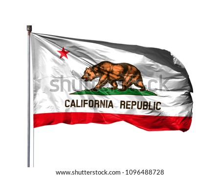 flag of State of California on a flagpole, isolated on white background #1096488728
