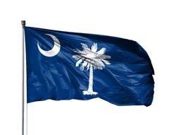 flag of State of South Carolina on a flagpole, isolated on white background
