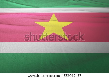 Flag of Suriname cloth fabric. National Flag of Suriname for Independence day. #1559017457