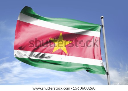 Flag of Suriname cloth fabric. National Flag of Suriname for Independence day. #1560600260