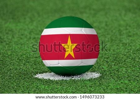 Flag of Suriname on Football Suriname Flag on soccer ball #1496073233