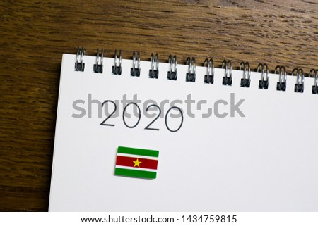Flag of Suriname on 2020 letters #1434759815