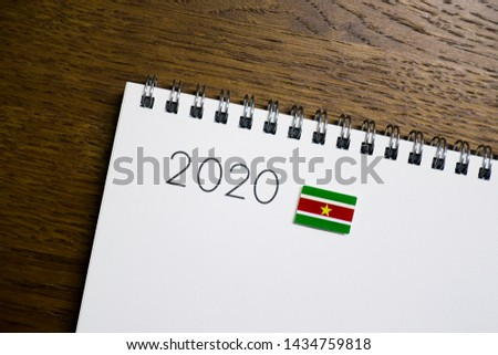Flag of Suriname on 2020 letters #1434759818