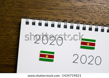 Flag of Suriname on 2020 letters #1434759821