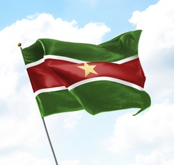 Flag of Suriname Raised Up in The Sky