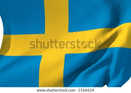 Flag of Sweden in the wind. - stock photo
