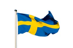 Flag of Sweden isolated on the white background, national patriotic symbol