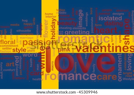 Flag of Sweden, national country symbol illustration love romance