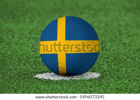 Flag of Sweden on Football Sweden Flag on soccer ball