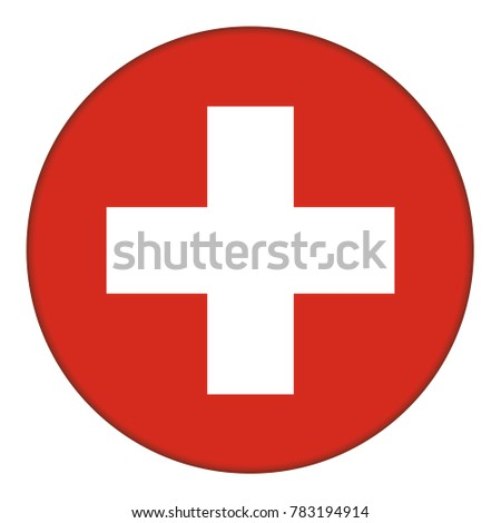 Flag of Switzerland, icon. Realistic color. Abstract concept. Raster illustration on white background.