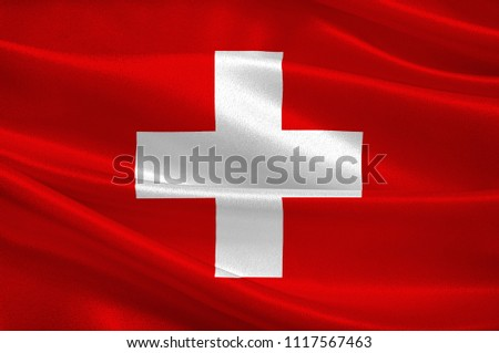 Flag of Switzerland officially the Swiss Confederation, is a sovereign state in Europe. The federal republic is situated in Western-Central Europe. 3d illustration