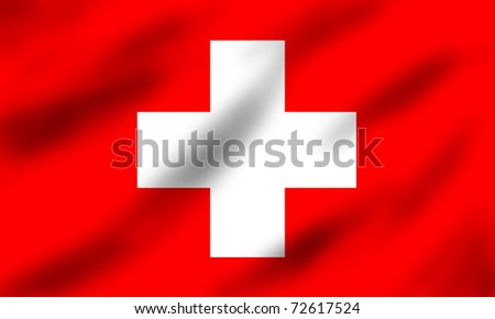Flag of Switzerland waving, 3d illustration