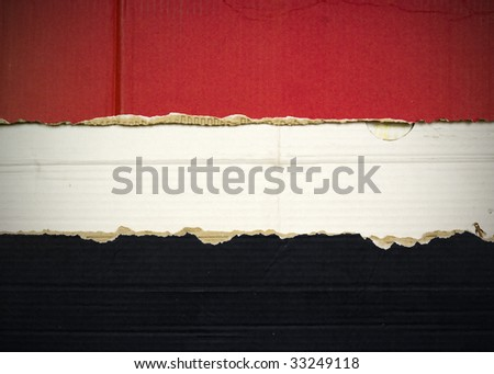 Flag of Syria, Iraq, Egypt, Yemen made with corrugated cardboard