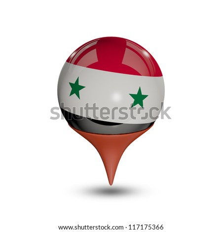 Flag of Syria pin isolated on white.