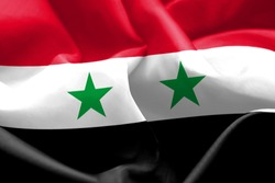 Flag of Syria waving in the wind. Colors of Syrian Arab Republic.