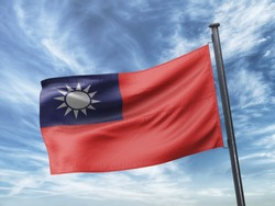 Flag of Taiwan on Flag Pole in Blue Sky. Taiwan Flag for advertising, celebration, achievement, festival, election. The symbol of the state on wavy cotton fabric.