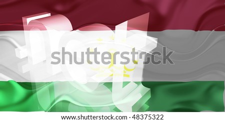 Flag of Tajikistan, national country symbol illustration wavy net domain website