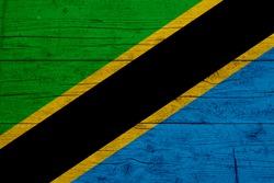 Flag of Tanzania. Wooden texture of the flag of Tanzania.