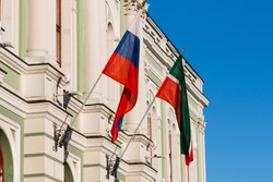 flag of Tatarstan and Russia on the spire