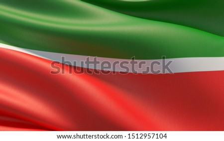 Flag of Tatarstan. High resolution close-up 3D illustration. Flags of the federal subjects of Russia.
