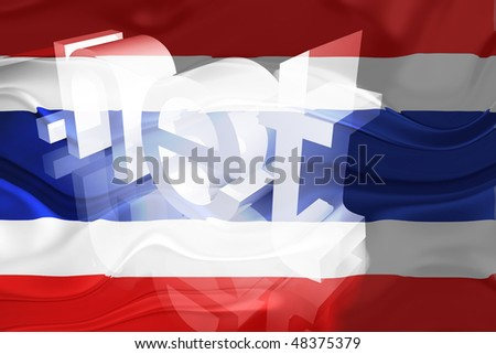 Flag of Thailand, national country symbol illustration wavy net domain website