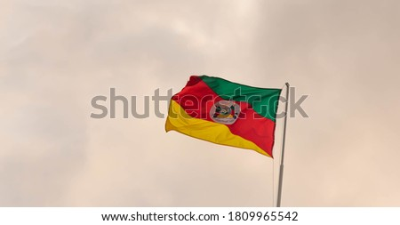 Flag of the Brazilian State of Rio Grande do Sul. Gaucho symbol. hoisted on the mast. The flag is classically defined as the visual symbol representing a sovereign state.
