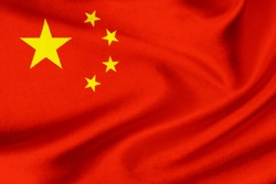 Flag of the China on satin texture