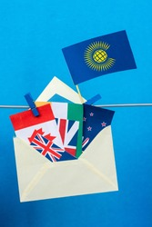 Flag of the Commonwealth of Nations (CIS), envelope with countries flags. Commonwealth Day card