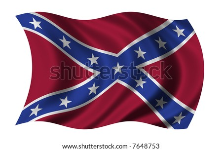 Flag of the Confederate States of America waving in the wind