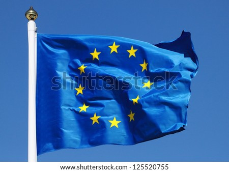 Flag of the European Union in the sun