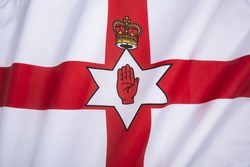 Flag of the Government of Northern Ireland. Also known as the Ulster Banner. Northern Ireland is a part of the United Kingdom of Great Britain.