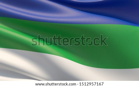 Flag of the Komi Republic. High resolution close-up 3D illustration. Flags of the federal subjects of Russia.