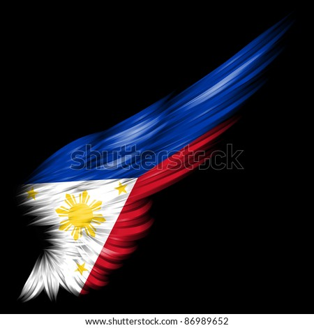 Flag of the Philippines on wing and black background