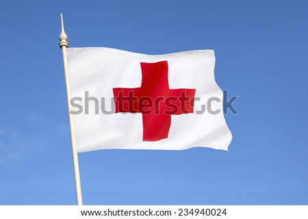 Flag of the Red Cross - the International Movement of the Red Cross and the Red Crescent, are international humanitarian organizations bringing relief to victims of war or natural disaster.
