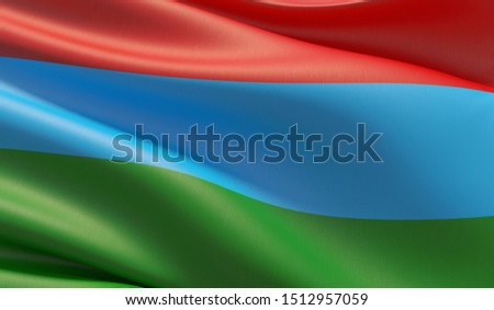 Flag of the Republic of Karelia. High resolution close-up 3D illustration. Flags of the federal subjects of Russia.