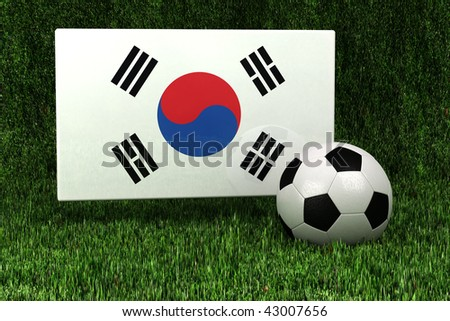 Flag of the Republic of Korea with soccer ball over grass background - very highly detailed render