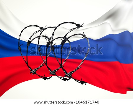 flag of the Russian Federation in barbed wire on a white background, sanctions and aggression of Russia. #1046171740