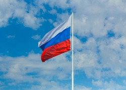 Flag of the Russian Federation on the background of the sky