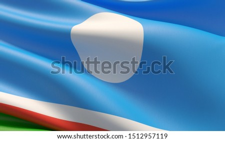 Flag of the Sakha Republic. High resolution close-up 3D illustration. Flags of the federal subjects of Russia.
