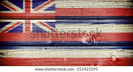flag of the state of Hawaii painted on old grungy wooden  background