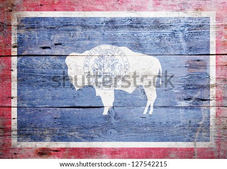 Flag of the state of Wyoming  painted on grungy wooden background