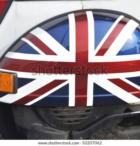 Flag of the UK aka Union Jack on a motor bike
