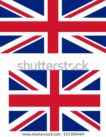 Flag of the UK with official proportions (2:1) and standard international proportions (3:2) useful as language icon on websites - isolated illustration