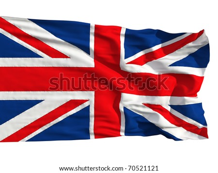 Flag of the United Kingdom, flying in the wind. Sewn from pieces of cloth, a very realistic detailed flags waving in the wind, with the texture of the material, isolated on a white background